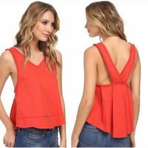 Free People Toying Around Tank in Red Orange Small